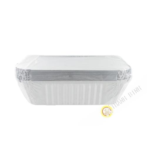 Barquette aluminium + couvercle 10pcs 10x20x7cm