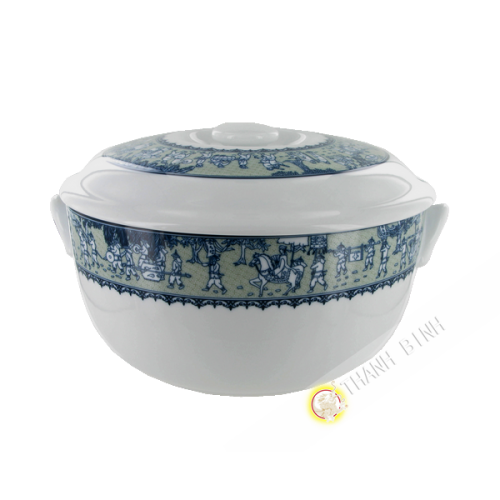 Bowl and lid round 18cm in porcelain Minh Long