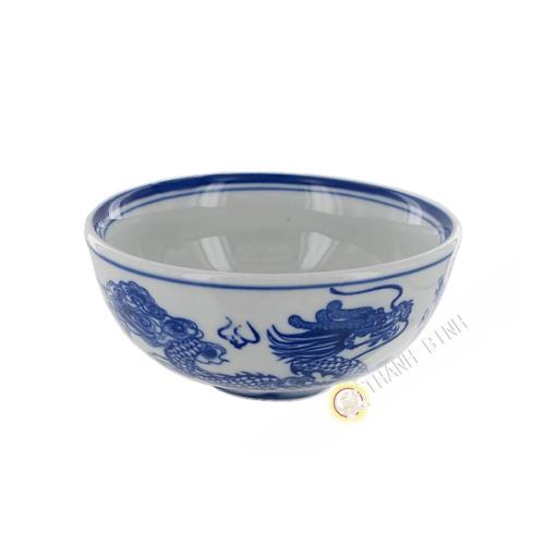 Plato de arroz de dragón azul de porcelana