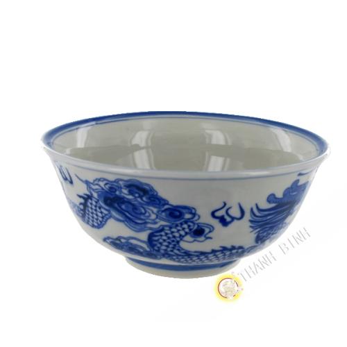 Soup bowl dragon blue porcelain 18cm Bat Trang