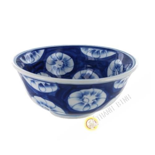 Bol à soupe 18cm fleur Hoa Mai bleu en porcelaine