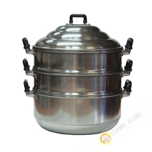 El vapor de la olla de aluminio