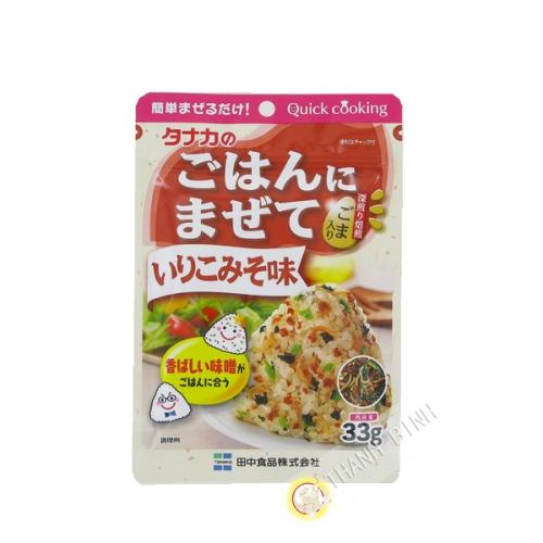 El condimento de arroz Gohan Ni Mazete Iriko miso aji TANAKA 33g Japón
