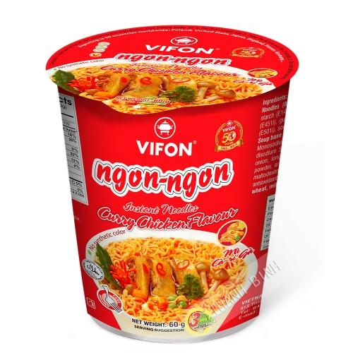 Sopa de fideos de pollo al curry Tazón NGON NGON VIFON 60g de Vietnam