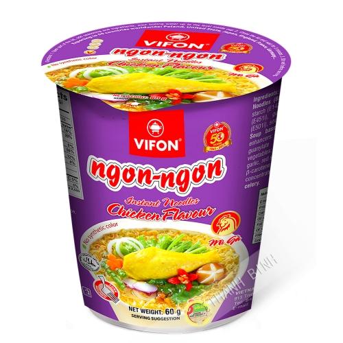 Sopa de fideos de pollo Tazón NGON NGON VIFON 60g de Vietnam