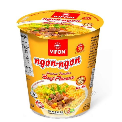 Sopa de fideos con carne de res Tazón NGON NGON VIFON 60g de Vietnam