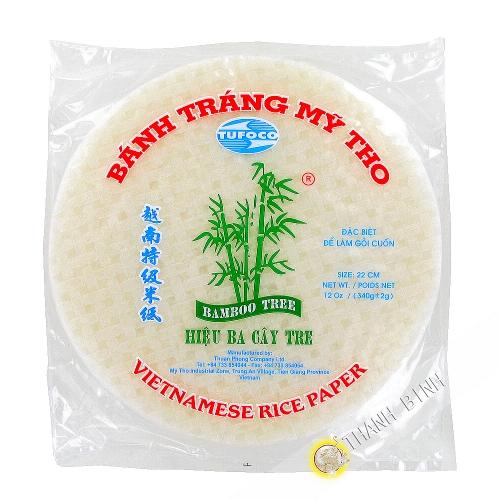 Papel de arroz 22cm para los rollitos de primavera 3 de bambú Vietnam 340g