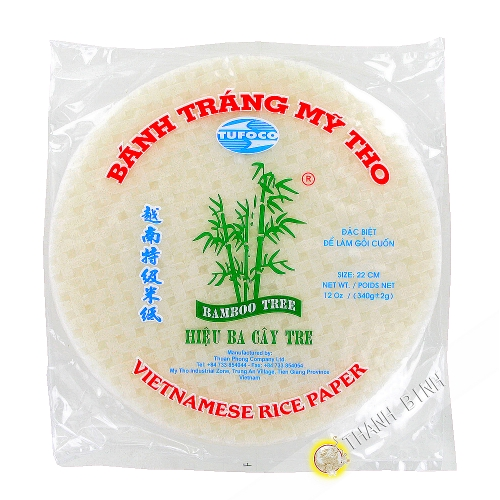 Rice paper 22cm for spring rolls 3 bamboo Vietnam 340g