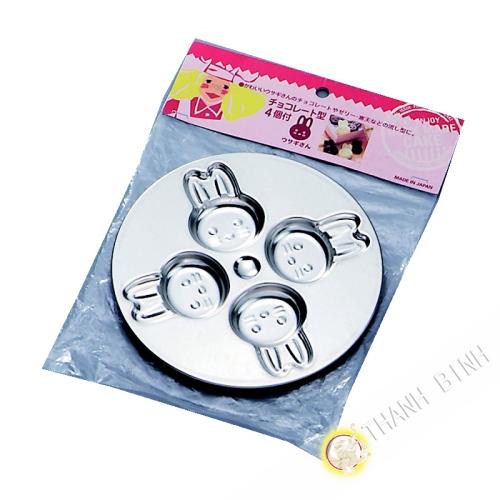 Stampo cioccolato in acciaio inox a forma di coniglio Ø15cm KOHBEC Giappone