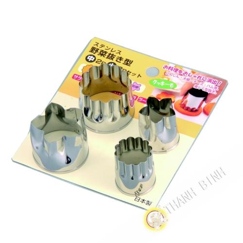 Molde de la taza de verduras de acero inoxidable, gran cantidad de 2pcs Ø3,5 cm + 2pcs Ø2,5 cm KOHBEC Japón