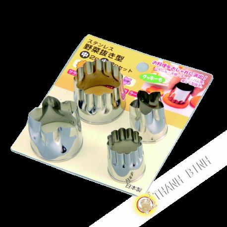 Mold cup vegetables stainless steel, lot of 2pcs Ø3,5cm + 2pcs Ø2,5cm KOHBEC Japan