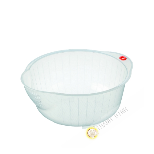 Bac de lavage perfore plastique transparent Ø22cm INOMATA Japon