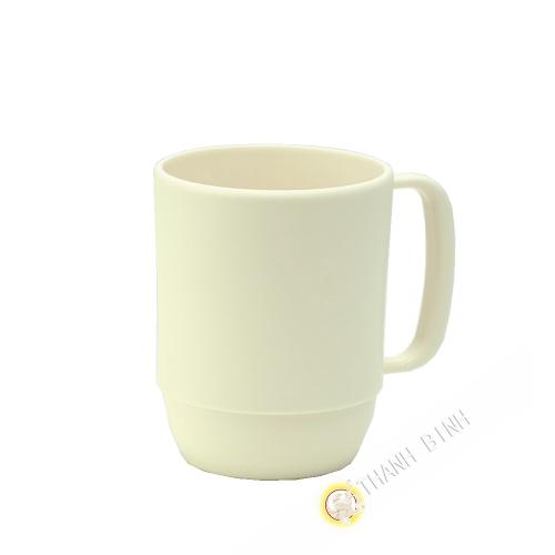 Pequeña taza de la taza de plástico micro-ondable de marfil 350ml 7,5x9,5cm INOMATA Japón