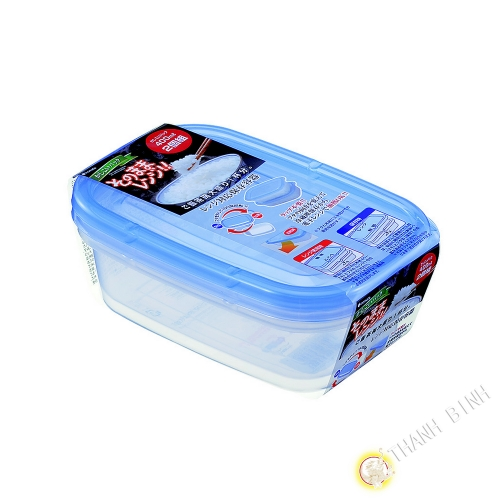Boîte rectangle plastique bleu 400ml, lot de 2pcs 10x16xH5cm INOMATA Japon