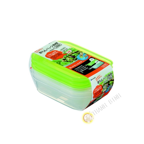Boîte rectangle plastique vert 140ml, lot de 3pcs 8x13xH3,5cm INOMATA Japon