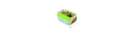 Boîte rectangle plastique vert 140ml, lot de 3pcs 8x13xH3,5cm INOMATA Japon