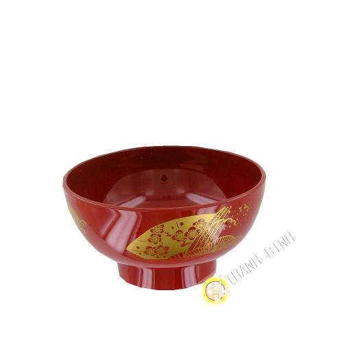Bol à soupe plastique laqué rouge 11,5xH5,5cm KOHBEC Japon