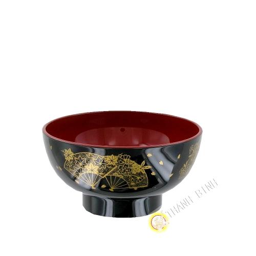 Bol à soupe plastique laqué noir 11,5xH5,5cm KOHBEC Japon