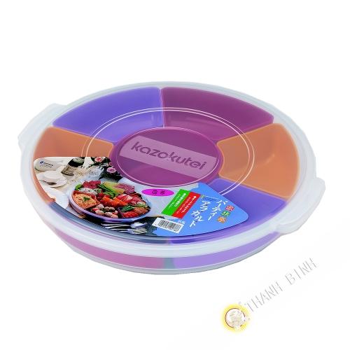 Caja de almuerzo de la melodía de la ronda 7 compartimento extraíble Ø35cmxH6cm INOMATA Japón