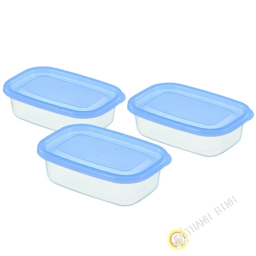Boîte rectangle plastique bleu 170ml, lot de 3pcs 8x12xH3,9cm INOMATA Japon