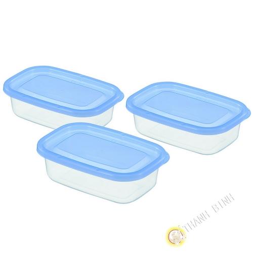 Casella di rettangolo di plastica blu, 170 ml, un sacco di 3pcs 8x12xH3,9cm INOMATA Giappone