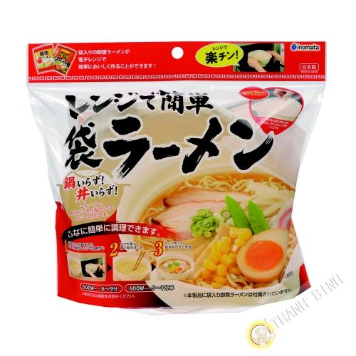 Bol cuiseur à nouille au micro-ondes avec couverte plastique Ø16cmxH7cm INOMATA Japon