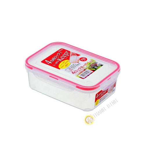 Box food hermetic + lid plastic rectangular 700ml 12x17xH6cm INOMATA Japan