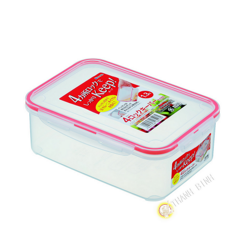 Box food hermetic + lid plastic rectangular 1.3 L 14x20xH7cm INOMATA Japan