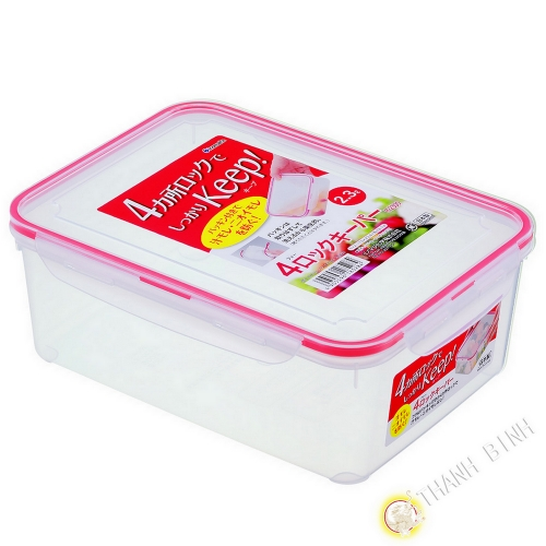 Box food hermetic + lid plastic rectangular 2.3 L 17x23xH8cm INOMATA Japan