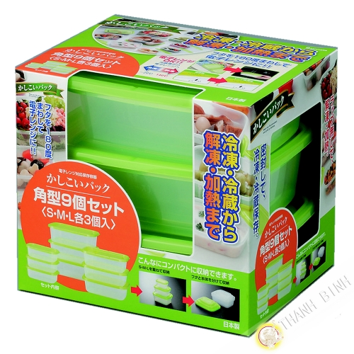 Box food plastic rectangle microwave and refrigerator, lot of 9pcs green INOMATA Japan