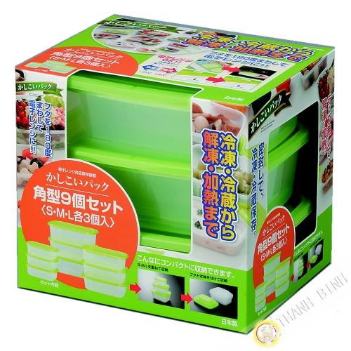 Cuadro de comida rectángulo de plástico microondas y nevera, un montón de 9pcs verde INOMATA Japón