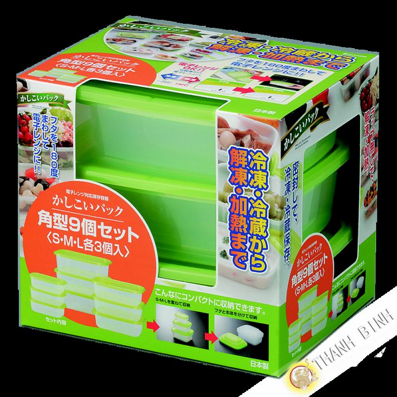 boite plastique alimentaire rectangle pour micro onde et frigo lot de 9pcs vert inomata japon. Black Bedroom Furniture Sets. Home Design Ideas
