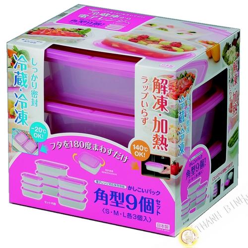 Cuadro de comida rectángulo de plástico microondas y nevera, un montón de 9pcs rosa INOMATA Japón