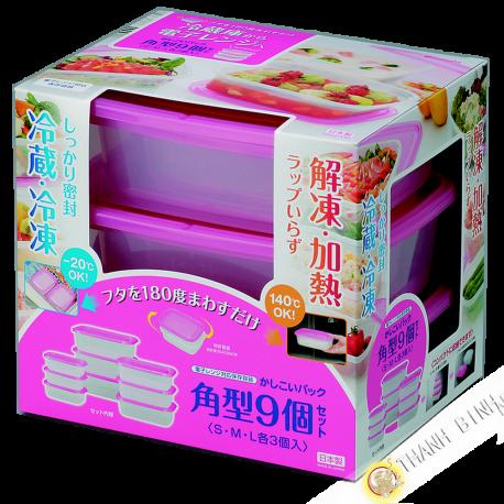 Boite plastique alimentaire rectangle pour micro onde et frigo, lot de 9pcs rose INOMATA Japon