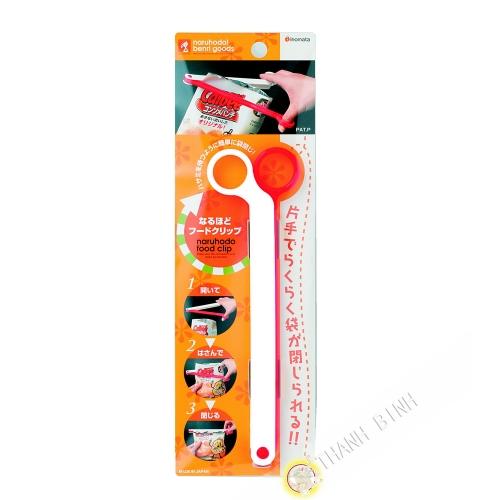 Clip / Clamp closes bag white plastic red 6x20cm INOMATA Japan