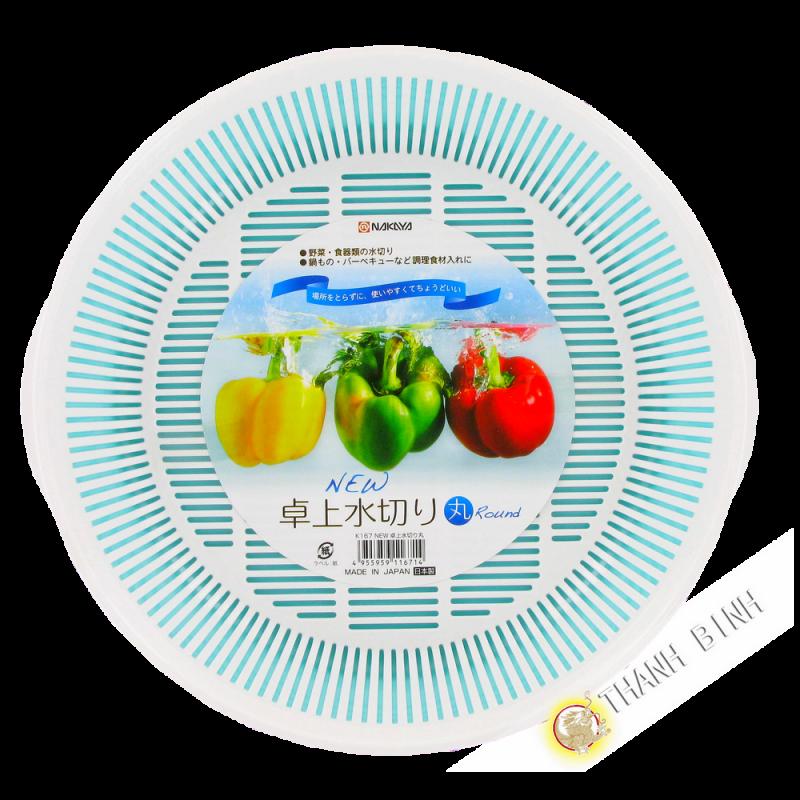 Kit Egouttoir Plastique Panier Evier Legumes Blanc O24cm Nakaya Japon