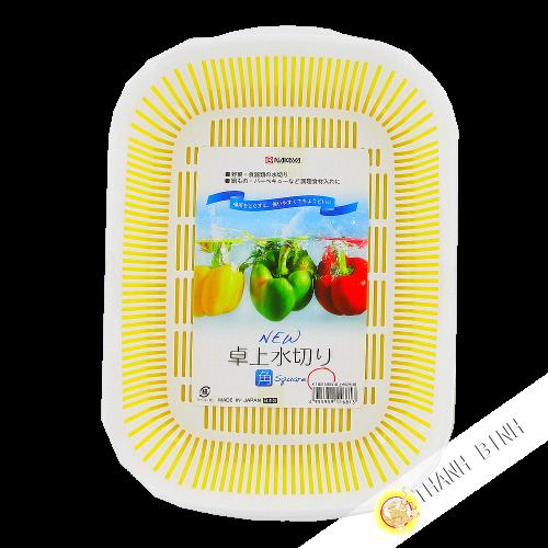 Kit de bastidor de la cesta de fregadero de la cocina de las verduras de plástico blanco y amarillo de 18 x 25 cm NAKAYA Japón