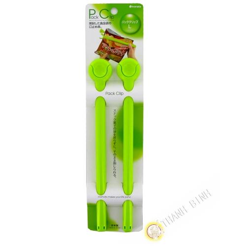 Clip / pince ferme sachet plastique vert 3x24,5cm, lot de 2pcs INOMATA Japon