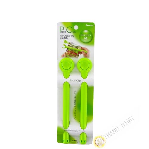 Clip / Pince ferme sachet plastique vert 3x19cm, lot de 2pcs INOMATA Japon