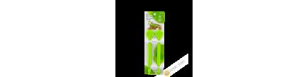 Clip / Clamp farm plastic sachet green 3x19cm, lot of 2pcs INOMATA Japan
