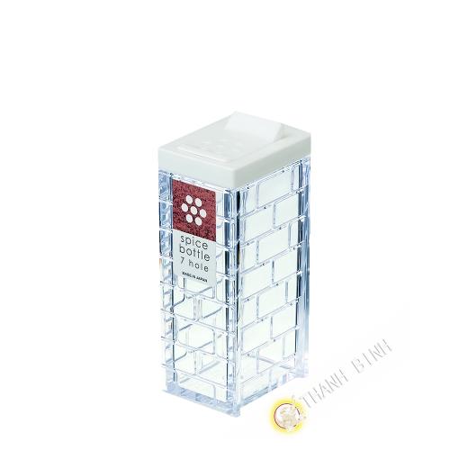 Boîte épice en poudre plastique blanc 7 trous Ø0,2cm 4x9cm INOMATA Japon