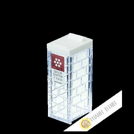 Box spice powder, white plastic 7 holes Ø0,2cm 4x9cm INOMATA Japan