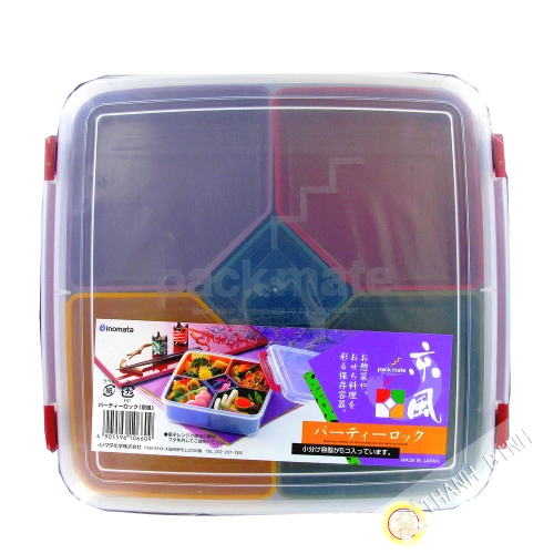 Bento Lunch box mélodie carrée 5 compartiment amovible 22xH7cm japonais INOMATA Japon