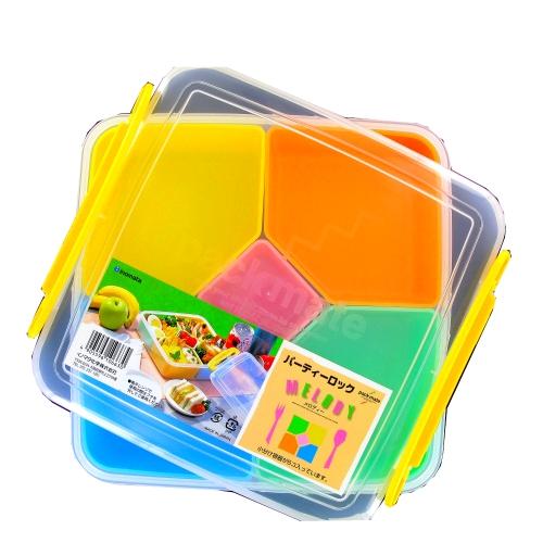 Bento caja de Almuerzo de la melodía de la plaza 5 compartimiento extraíble 22xH7cm japonés INOMATA Japón