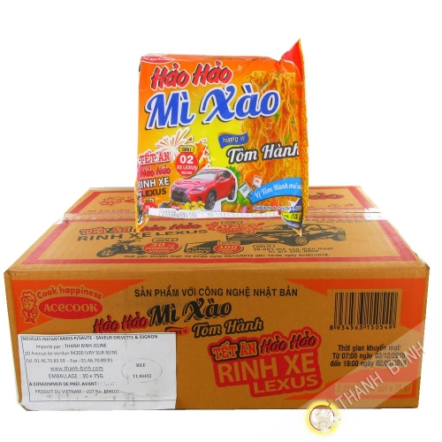 Nouille instantanée sauté HAO HAO crevette onion ACECOOK carton 30x75g Vietnam