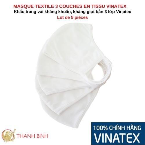 Mask textile 3-layer fabric VINATEX Lot of 5pcs Vietnam