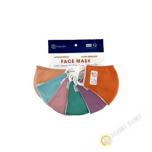 Mask textile child color 3 layers fabric FASLINK 20x11cm Lot of 3pcs Vietnam