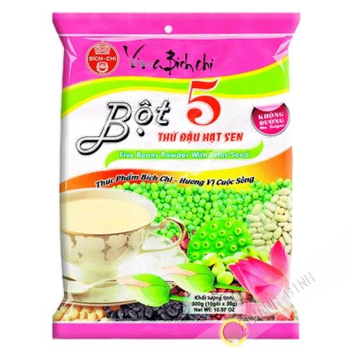 La preparación de la bebida de 5 cereales lotus BICH CHI 300g de Vietnam