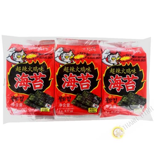 Algue grillée épicé MANIDDO 3x5g Corée