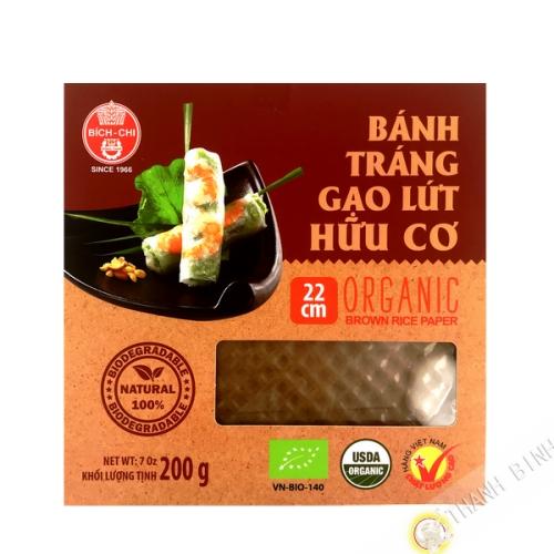 Papel de arroz completo de 22cm para los rollitos de primavera BICH CHI 400g de Vietnam
